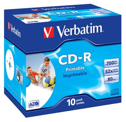 Immagine di VERBATIM CD-R 52X, 700MB, 10 PACK JEWEL CASE, AZO, WIDE INKJET PRINTABLE, 23-118 MM