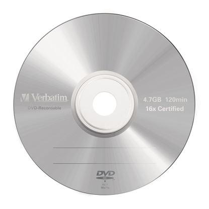 Immagine di VERBATIM DVD-R 16X, 4,7GB, 5 PACK BRANDED JEWEL CASE, MATT SILVER