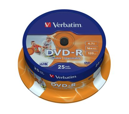 Immagine di VERBATIM DVD-R 16X, 4,7GB, 25 PACK SPINDLE, WIDE INKJET PRINTABLE, 21-118 MM