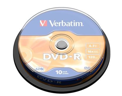 Immagine di VERBATIM DVD-R 16X, 4,7GB, 10 PACK SPINDLE, MATT SILVER