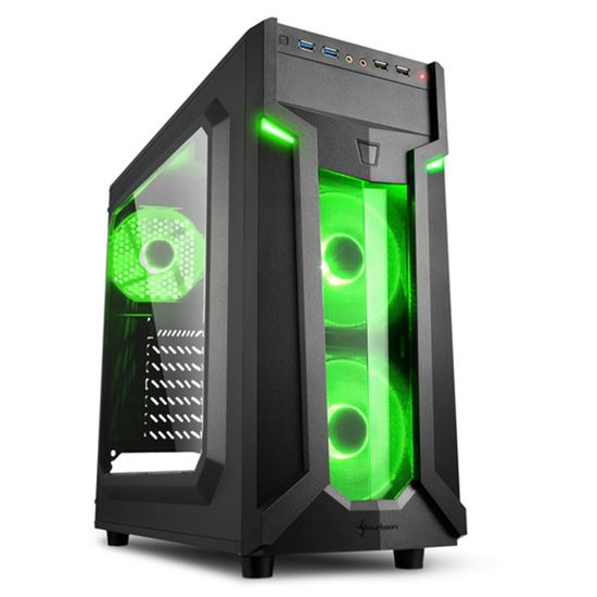 Immagine di SHARKOON CASE VG6-W GREEN, ATX, 2XUSB2, 2XUSB3, 6 SLOTS, 2X120 LED FRONT 1X120 REAR, WINDOW ACRILIC, BLUE