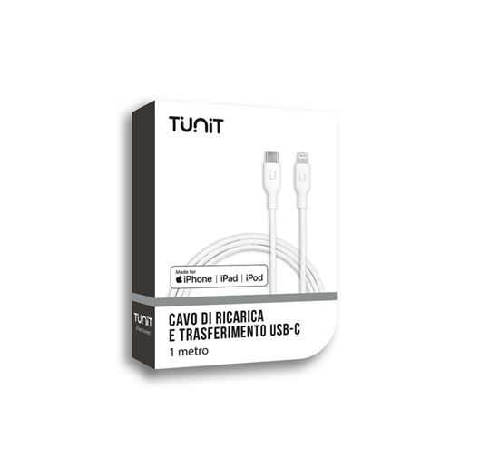 Immagine di TUNIT CAVO DA LIGHTNING A USB-TUNIT CAVO DA LIGHTNING A USB-C 1M BIANCO ABS+PC PER IPOD IPHONE E   IPAD