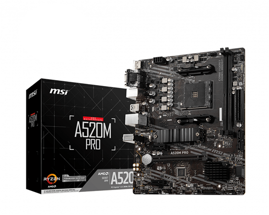 Immagine di MSI MB AMD A520M PRO AM4 2DDR4, 1PCI-Ex16, 1M2, 4SATA3, 6USB3