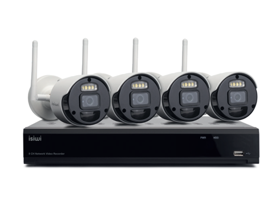 Immagine di ISIWI KIT WIRELESS CONNECT4 ISW-K1N8BF2MP-4 NVR 8 CANALI + 4 TELECAMERE IP 1080P WIRELESS CON FUNZIONE PIR