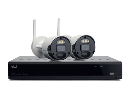 Immagine di ISIWI KIT WIRELESS CONNECT2 ISW-K1N8BF2MP-2 NVR 8 CANALI + 2 TELECAMERE IP 1080P WIRELESS CON FUNZIONE PIR