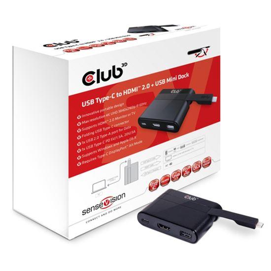Immagine di CLUB3D DOCKING STATION USB C TO HDMI 2.0 FEM +USB C FEM CHARGING MINI DOCK