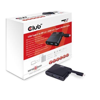 Immagine di CLUB3D DOCKING STATION USB C TO DISPLAYPORT 1.2+USB3.0+USB C CHARGING MINI DOCK
