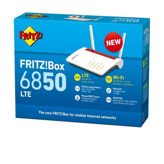 Immagine di AVM FRITZ! ROUTER FRITZ BOX! 6850 LTE INTERNATIONAL 4 PORTE LAN GIGABIT RJ-45,1XUSB 3.0, 1 PORTA TE LEFONICA ANALOGICA, 1 SLOT SIM
