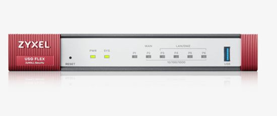 Immagine di ZYXEL FIREWALL USG FLEX 100 SECURITY GATEWAY 1XWAN, 4XLAN, 1XUSB, VPN 40 IPSEC/L2TP, 30 SSL, AMAZON VPC, SSL INSPECTION, PCI DSS COMPLIANT, WLAN CONTROLLER 8 AP
