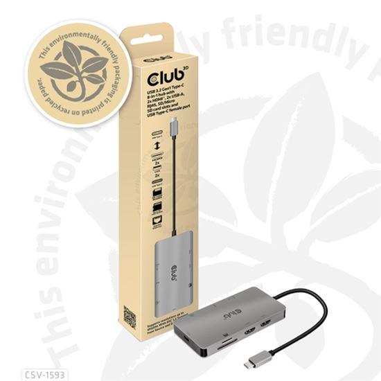 Immagine di CLUB3D USB 3.2 GEN1 TYPE-C 8-IN-1 HUB WITH 2X HDMIT, 2X USB-A, RJ45, SD/MICRO SD CARD SLOTS AND USB